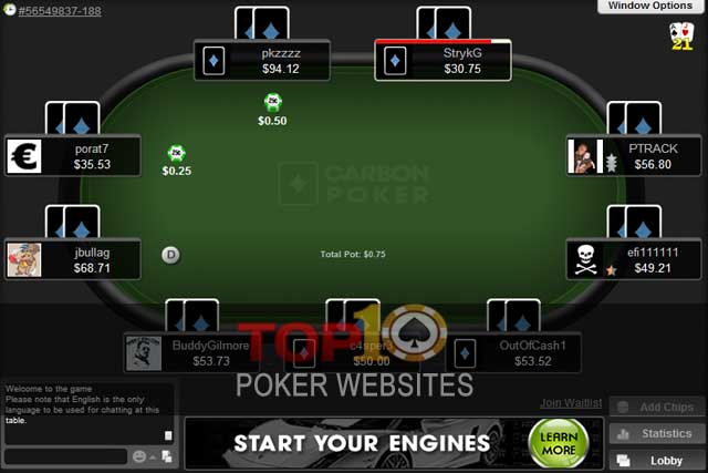 Carbon poker player to player transfer